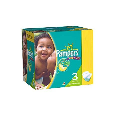 Maxi giga pack 380 Couches Pampers Baby Dry taille 3 sur Promo Couches