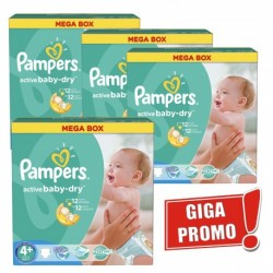 Pack jumeaux 600 Couches Pampers Active Baby Dry taille 4+ sur Promo Couches