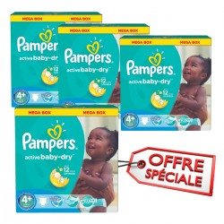 Pack jumeaux 720 Couches Pampers Active Baby Dry taille 4+