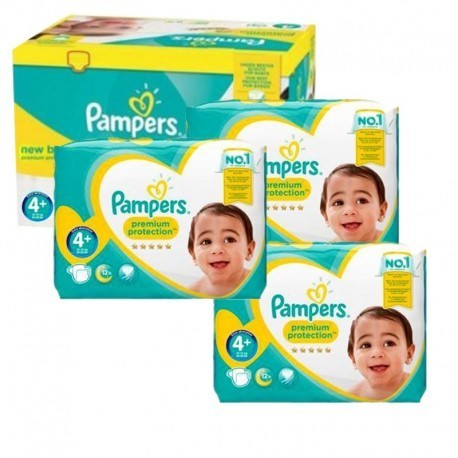 Pack jumeaux 567 Couches Pampers New Baby Premium Protection taille 4+ sur Promo Couches