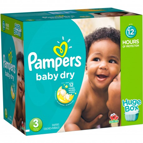 Maxi mega pack 456 Couches Pampers Baby Dry taille 3 sur Promo Couches