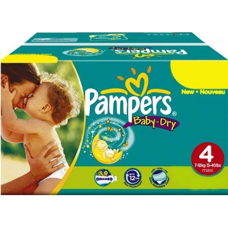 Maxi mega pack 442 Couches Pampers Baby Dry taille 4 sur Promo Couches