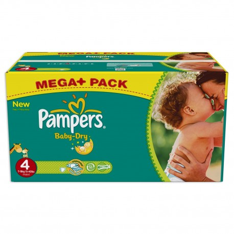 Pack jumeaux 578 Couches Pampers Baby Dry taille 4 sur Promo Couches