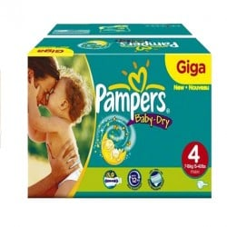 Pack jumeaux 612 Couches Pampers Baby Dry taille 4