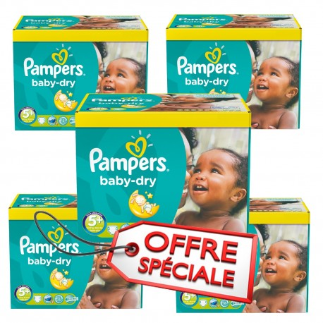 Pack 66 Couches Pampers Baby Dry taille 5+ sur Promo Couches