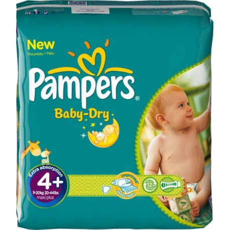 Pack jumeaux 560 Couches Pampers Baby Dry taille 4+ sur Promo Couches