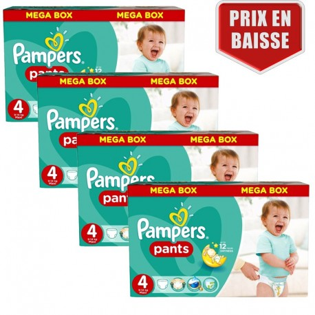 Maxi mega pack 416 Couches Pampers Baby Dry Pants taille 4 sur Promo Couches