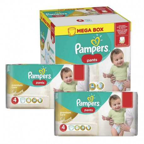 Mega pack 198 Couches Pampers Premium Care Pants taille 4 sur Promo Couches