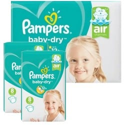 Mega pack 180 Couches Pampers Baby Dry taille 8 sur Promo Couches