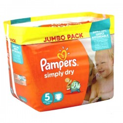 Pack 41 Couches Pampers de la gamme Simply Dry taille 5 sur Promo Couches