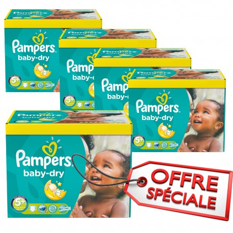 Maxi giga pack 340 Couches Pampers Baby Dry taille 5+ sur Promo Couches