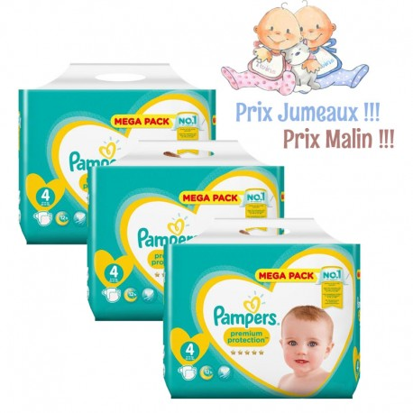 Pack jumeaux 512 Couches Pampers New Baby Premium Protection taille 4 sur Promo Couches