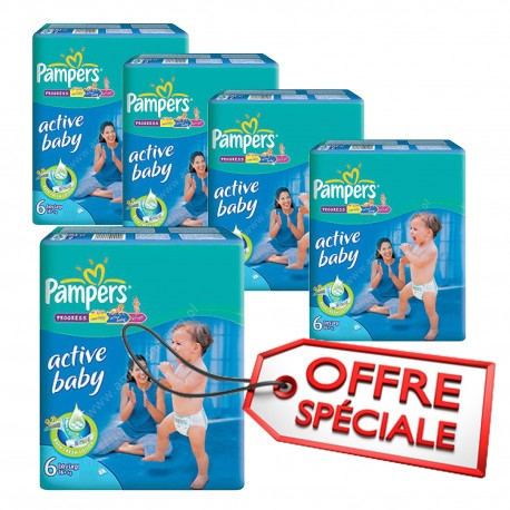 Giga pack 210 Couches Pampers Active Baby Dry taille 6 sur Promo Couches