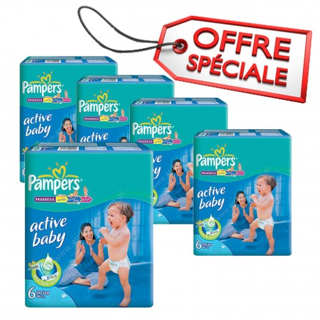 Giga pack 294 Couches Pampers Active Baby Dry taille 6 sur Promo Couches