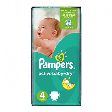 Pack 13 Couches Pampers Active Baby Dry taille 4 sur Promo Couches