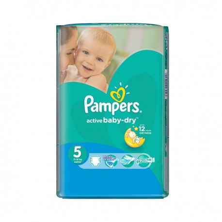 Pack 11 Couches Pampers Active Baby Dry taille 5 sur Promo Couches