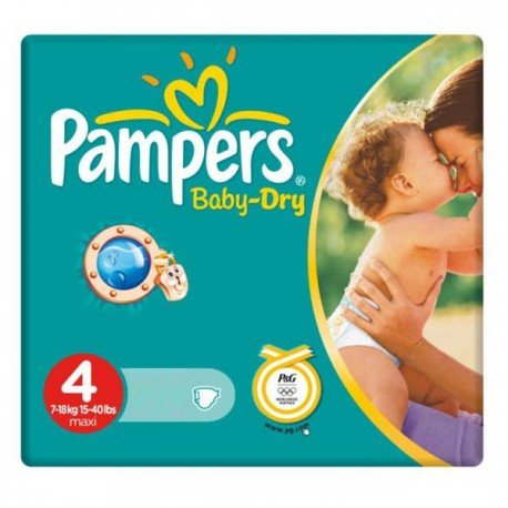 Pack de 44 Couches Pampers Baby Dry de taille 4 sur Promo Couches