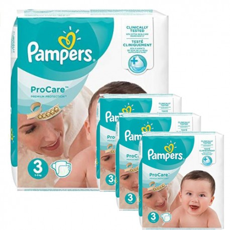 Pack jumeaux 512 Couches Pampers ProCare Premium protection taille 3 sur Promo Couches