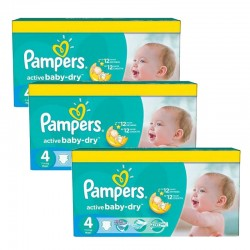 91 Couches Pampers Active Baby Dry taille 4 sur Promo Couches