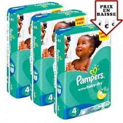 130 Couches Pampers Active Baby Dry taille 4 sur Promo Couches