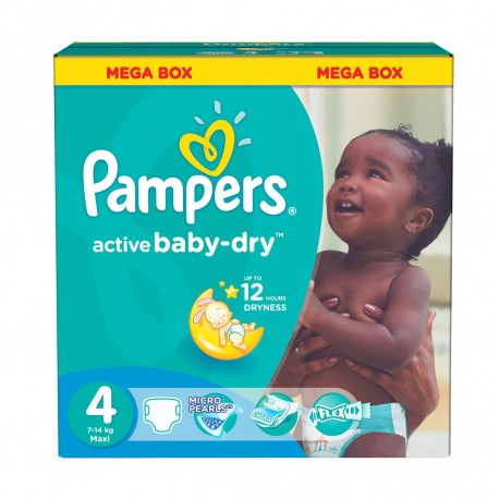 Mega pack 195 Couches Pampers Active Baby Dry taille 4 sur Promo Couches