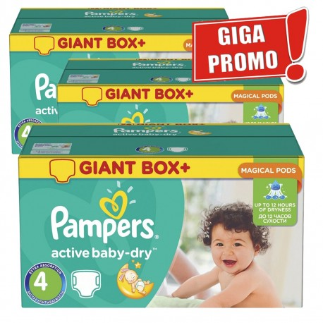 Giga pack 221 Couches Pampers Active Baby Dry taille 4 sur Promo Couches