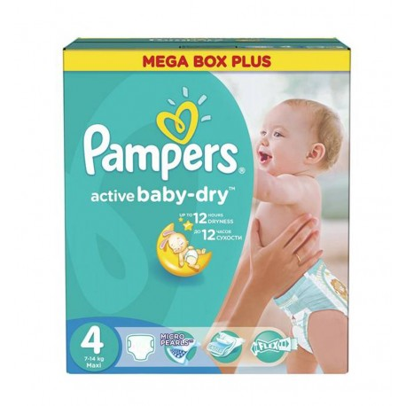 Giga pack 299 Couches Pampers Active Baby Dry taille 4 sur Promo Couches
