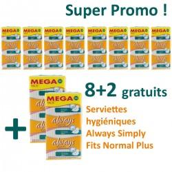 Pack de 360 Serviettes hygiéniques Always Simply Fits - 10 Packs de 36 Serviettes hygiéniques de taille normal plus sur Promo Couches