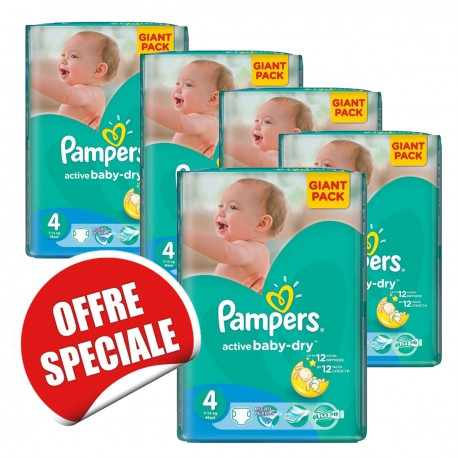 Maxi mega pack 455 Couches Pampers Active Baby Dry taille 4 sur Promo Couches
