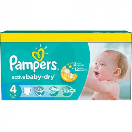 Pack jumeaux 624 Couches Pampers Active Baby Dry taille 4 sur Promo Couches