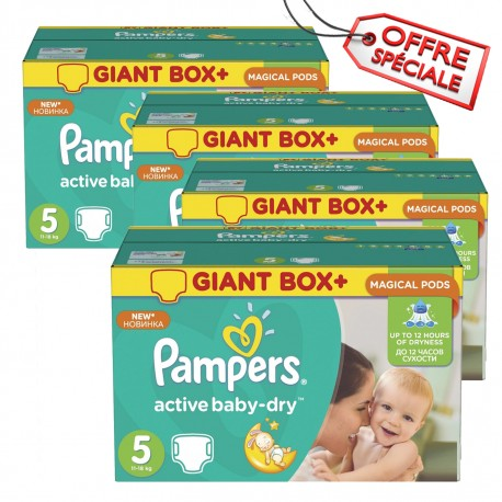110 Couches Pampers Active Baby Dry taille 5 sur Promo Couches