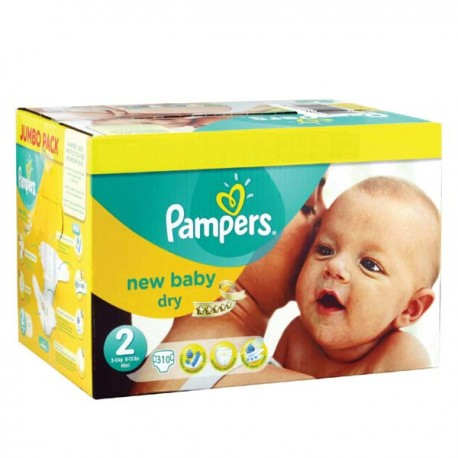Giga pack 246 Couches Pampers New Baby Premium Protection taille 2 sur Promo Couches