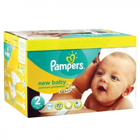 Maxi giga pack 328 Couches Pampers New Baby Premium Protection taille 2 sur Promo Couches