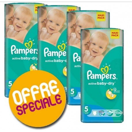 220 Couches Pampers Active Baby Dry taille 5 sur Promo Couches