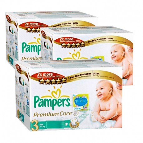 Mega pack 100 Couches Pampers Premium Care taille 3 sur Promo Couches