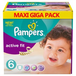 Mega pack 128 Couches Pampers Active Fit taille 6