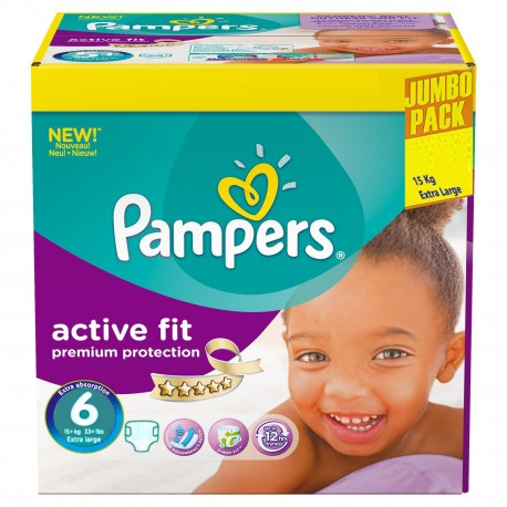 Giga pack 256 Couches Pampers Active Fit taille 6 sur Promo Couches