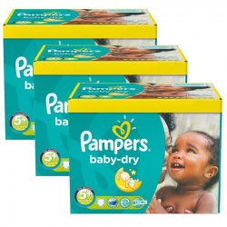 Maxi giga pack 375 Couches Pampers Baby Dry taille 5+ sur Promo Couches