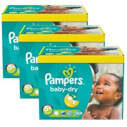 Maxi giga pack 375 Couches Pampers Baby Dry taille 5+