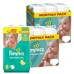 Maxi mega pack 408 Couches Pampers Active Baby Dry taille 3