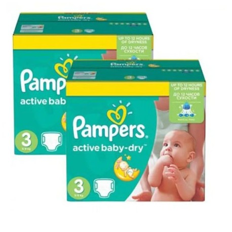 Pack jumeaux 612 Couches Pampers Active Baby Dry taille 3 sur Promo Couches