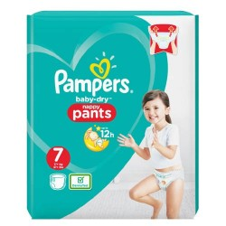 Pack 21 Couches Pampers Baby Dry Pants taille 7 sur Promo Couches