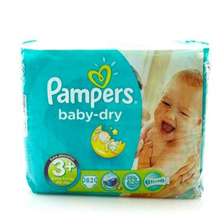 Pack de 82 Couches Pampers de la gamme Baby Dry taille 3+ sur Promo Couches