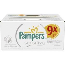 Pack de 504 Lingettes Bébés Pampers Sensitive Baby - 9 Packs de 56 sur Promo Couches