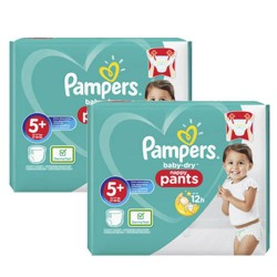 Pack 68 Couches Pampers Baby Dry Pants taille 5+ sur Promo Couches