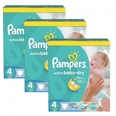 Maxi giga pack 372 Couches Pampers Active Baby Dry taille 4 sur Promo Couches