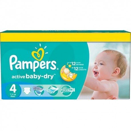 Maxi mega pack 496 Couches Pampers Active Baby Dry taille 4 sur Promo Couches