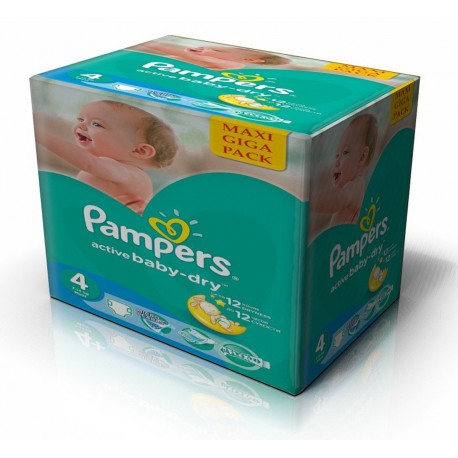 Maxi giga pack 343 Couches Pampers Active Baby Dry taille 4 sur Promo Couches