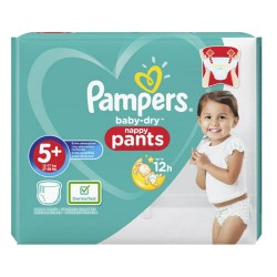 Pack 34 Couches Pampers Baby Dry Pants taille 5+ sur Promo Couches