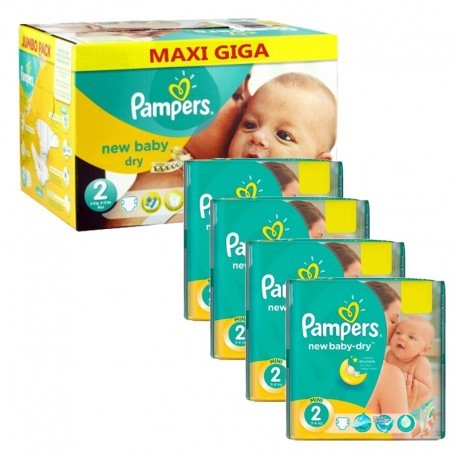Maxi mega pack 400 Couches Pampers New Baby Dry taille 2 sur Promo Couches